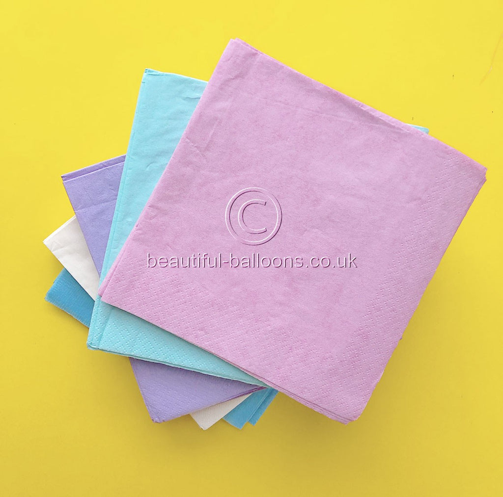 100 x Pastel Rainbow Ice Cream Shade Lunch Napkins
