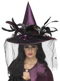 Deluxe Purple Feather Witch Hat