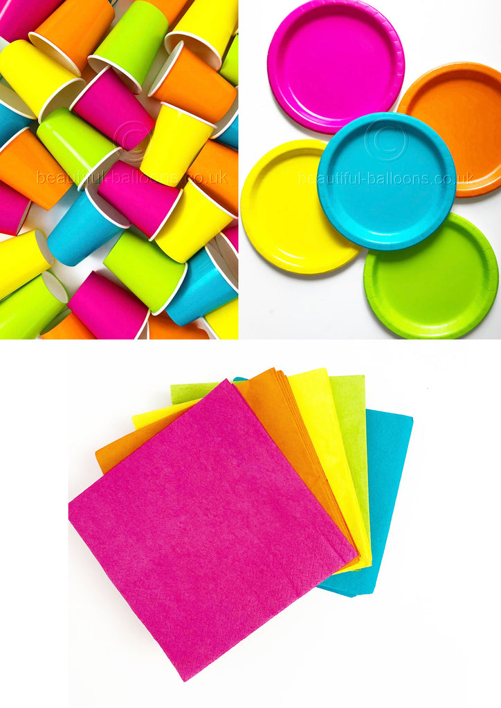 Neon Party Kit - Cups, Napkins and Plates! Complete kit