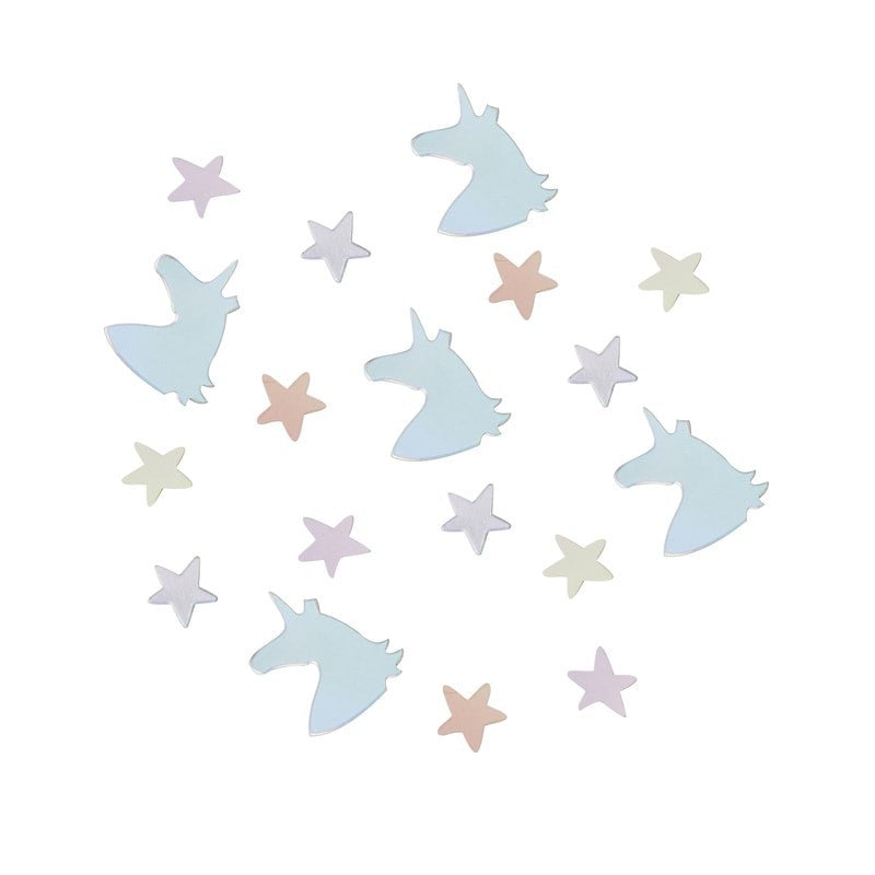 Iridescent unicorn and stars table confetti