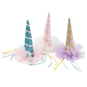 Blue sparkly unicorn party hat