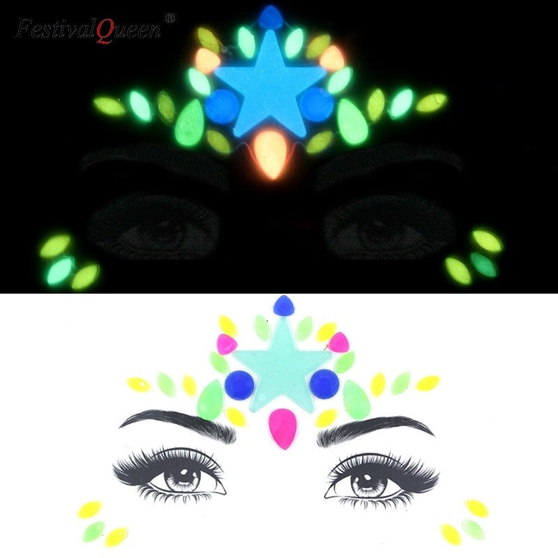 Glow in the dark star gem face jewels
