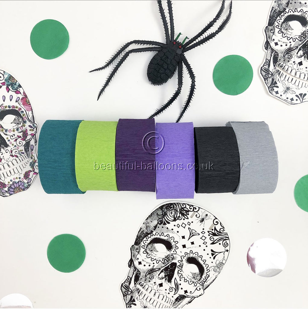 6 x Beautiful Balloons Halloween Crepe Streamer Shade Range - Perfect for Halloween Parties!