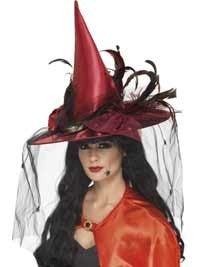 Deluxe Deep Red Feather Witch Hat