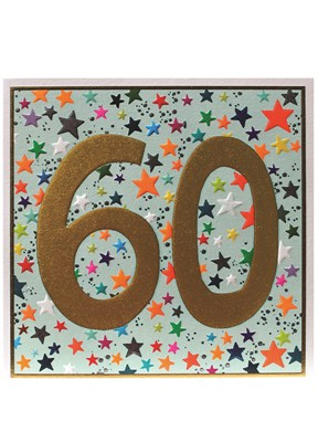 Star Patterned 60th Birthday Card