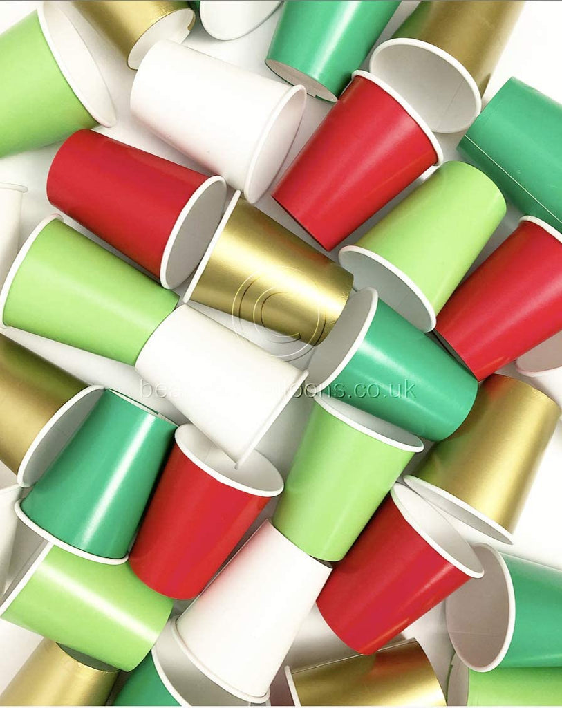 35 x Festive Christmas Paper Party Cups - Red, Green, Gold and White