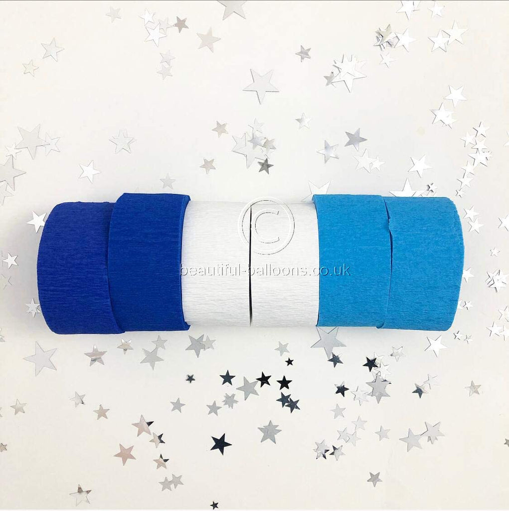 Royal Blue, Pale Blue and White Crepe Paper Roll Kit!