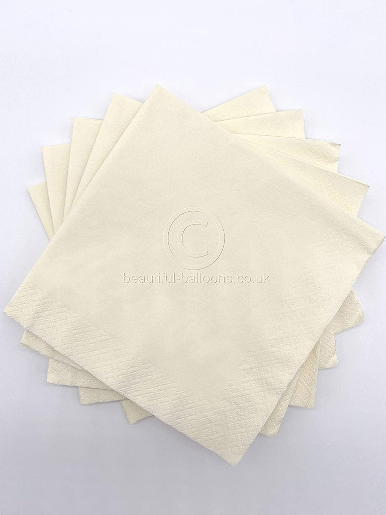 100 x Cream Paper Party Napkins