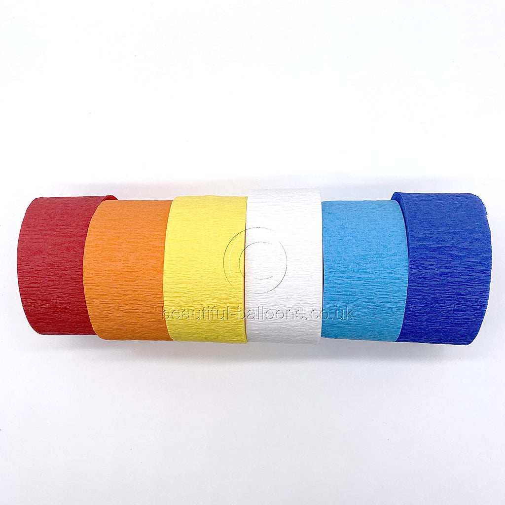 6 x Circus Shade Range Crepe Paper Roll Kit - Red, Orange, Yellow, White, Baby Blue & Royal Blue