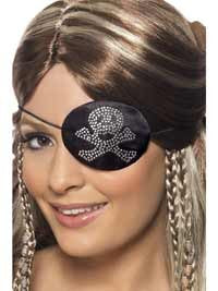 Black and Silver Diamante Pirate Eyepatch