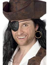 Pirate Eyepatch and Earring, Black and Gold