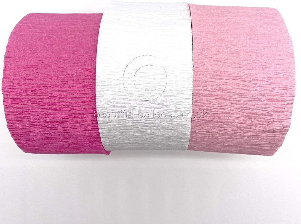 Crepe Paper Pretty Pink Kit - Hot Pink, Pale Pink & White! Perfect for Birthdays & Baby Showers