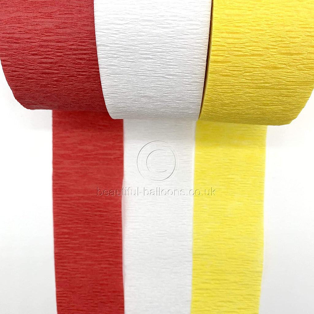 Circus Shades Crepe Paper Roll Streamer Kit - Red, Yellow & White!