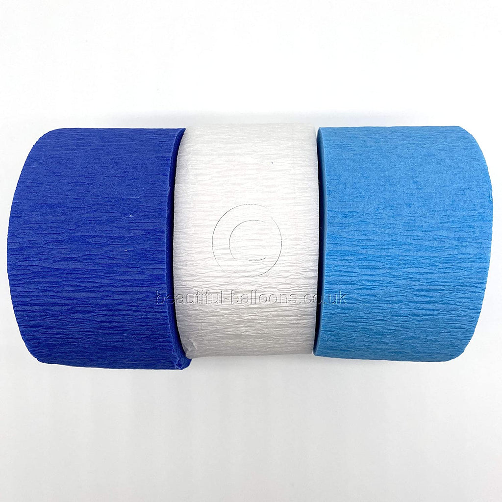Crepe Paper Classic Blue Kit - Royal Blue, Pale Blue & White! Perfect for Birthdays & Baby Showers