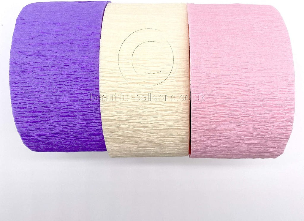 Crepe Paper Pretty Pink & Lilac Vintage Kit - Pale Pink, Lilac & Ivory! Perfect for Weddings & Baby Showers