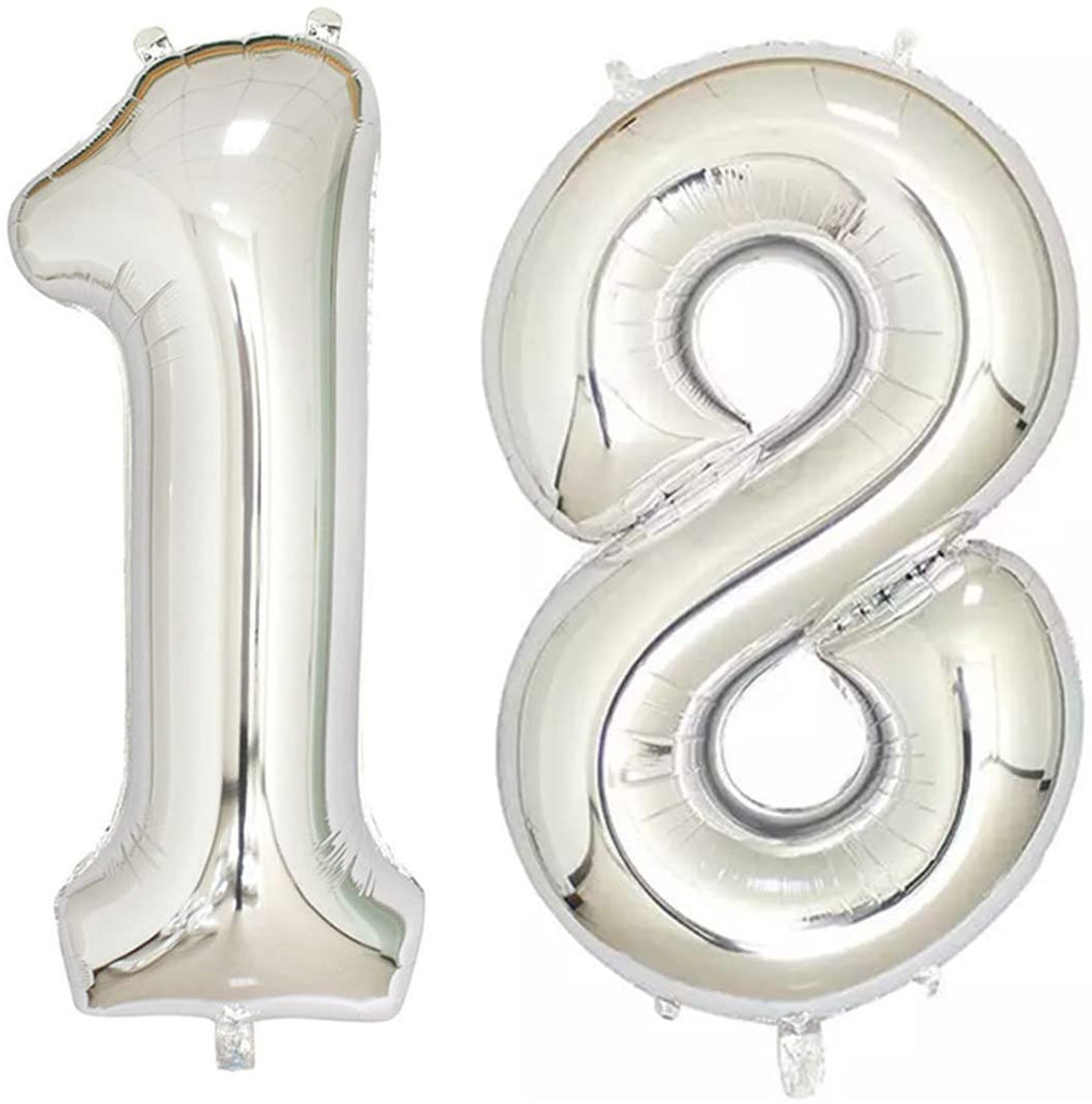 Number 18 Foil Shaped Balloon - Available in 6 colours