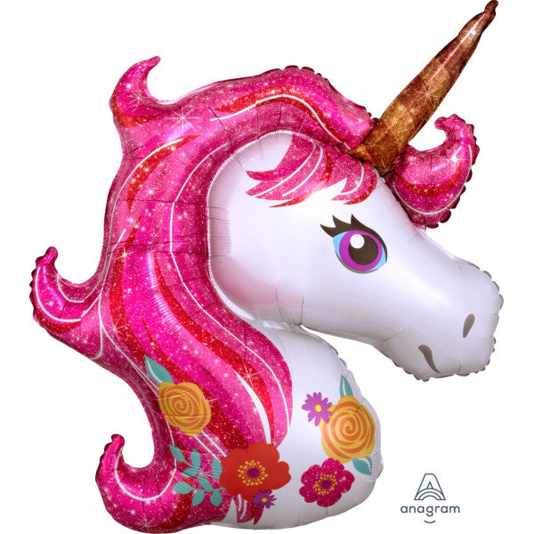 Pink Glitter Mane Unicorn Supershape