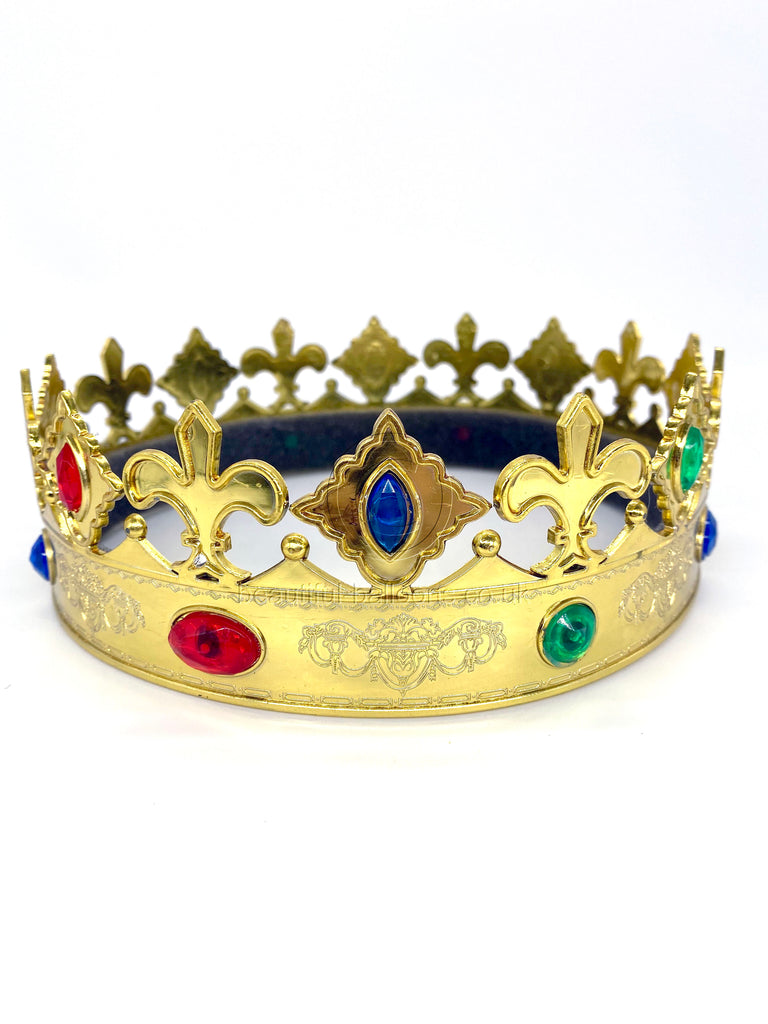 Queen or Prince Plastic Crown - Regal & Ornate with Gems! Royal celebrations