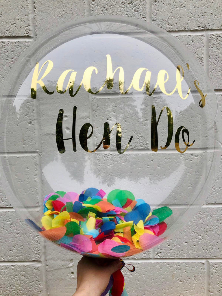 Rainbow Confetti and Vinyl Personalised Clear Bubble