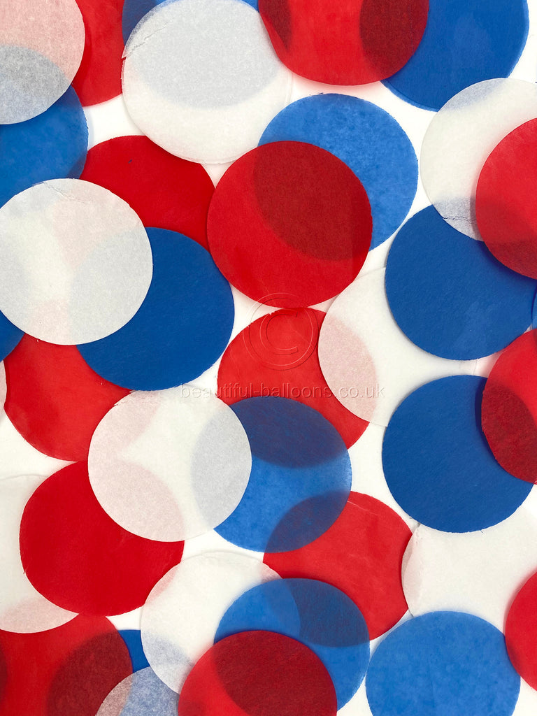 Red White and Blue tissue paper confetti circles - Union Jack, Royal Wedding, Brexit RAF, USA