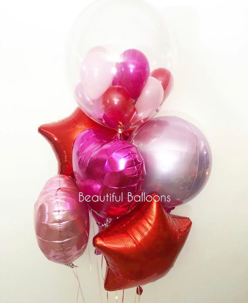 Red, Hot Pink, Pale Pink Bubble and Foils Cluster