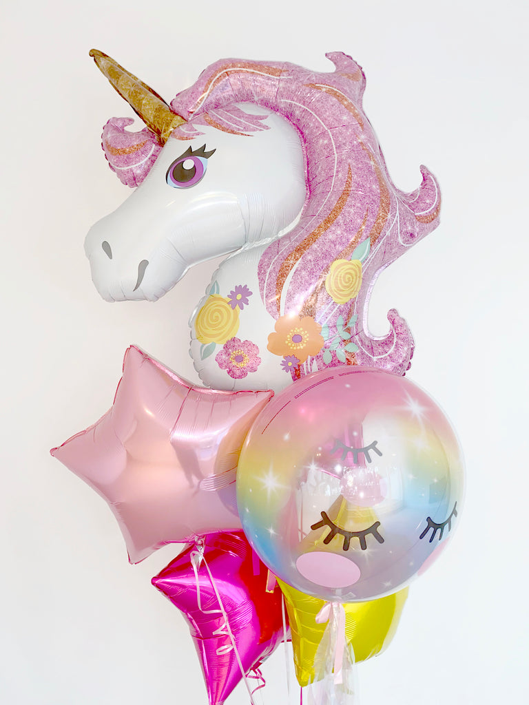 Unicorn Supershape, Eyelash Pastel Rainbow Bubble and Stars Bunch