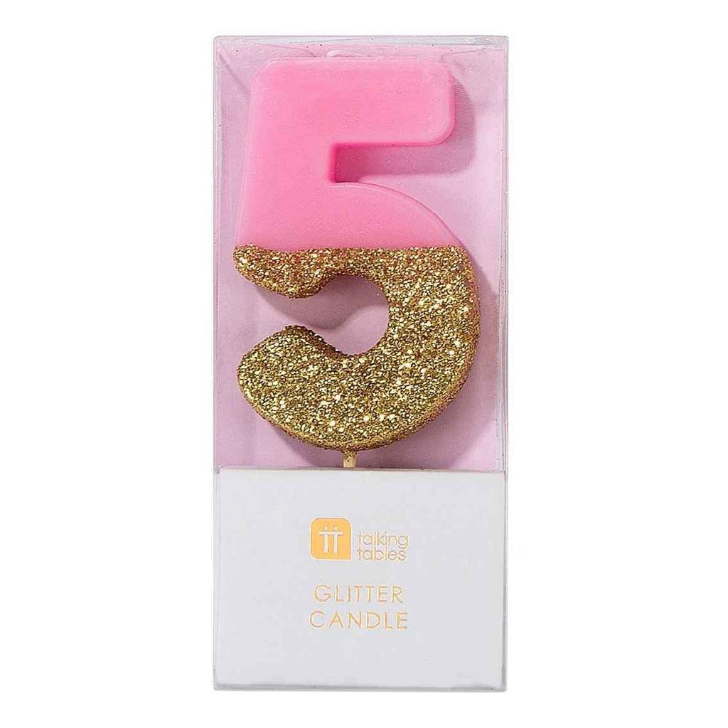 Ombre Pink Glitter Number Candle