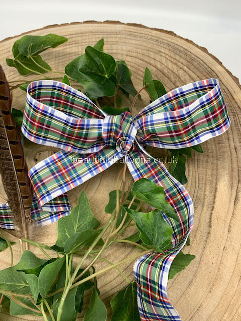 White, Blue, Red and Green Tartan Ribbon