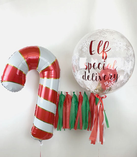I'm back! Elf on the shelf special delivery bubble and candy cane balloon