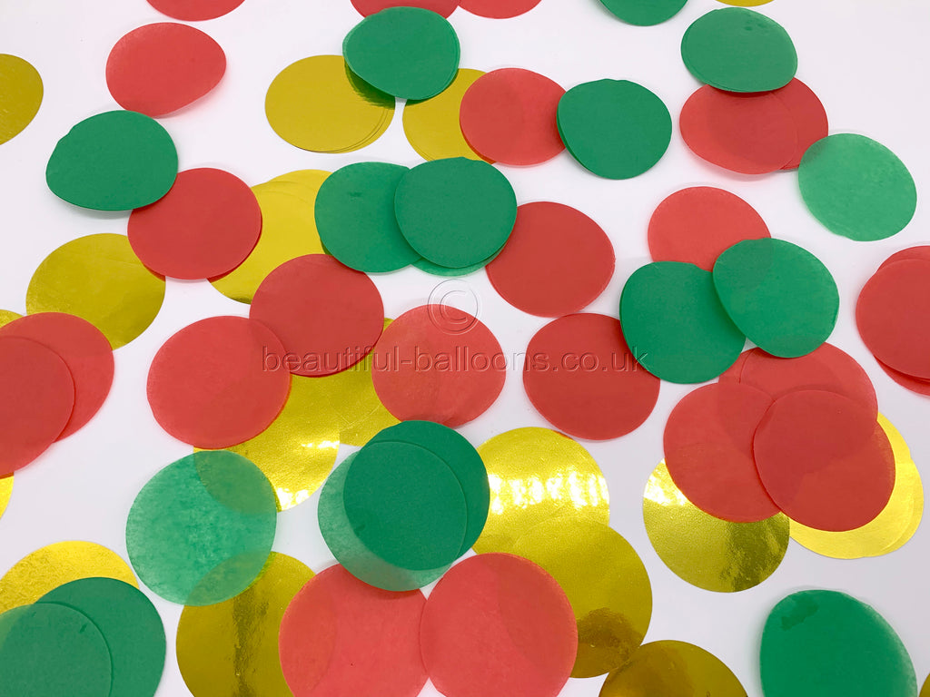 Red, Green and Gold Christmas Confetti