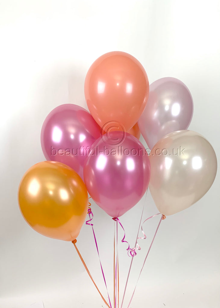 Flamingo Pink Shade Range Pearlised Latex Balloons (Helium Quality)