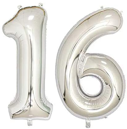 Number 16 Foil Shaped Balloon - Available in 6 colours