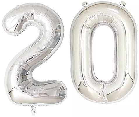 Number 20 Foil Shaped Balloons - Available in 6 colours