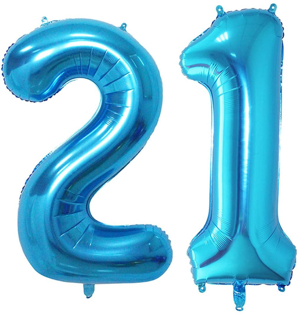 Number 21 Shaped Foil Balloons - Available in 6 colours