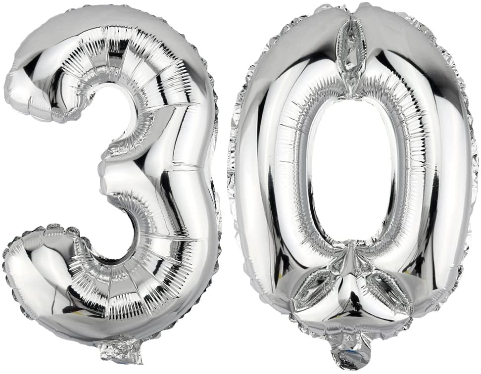 Number 30 Shaped Foil Balloons - Available in 6 colours