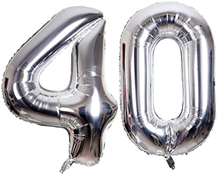 Number 40 Shaped Foil Balloons - Available in 6 colours