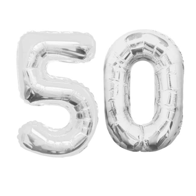 Number 50 Shaped Foil Balloons - Available in 6 colours