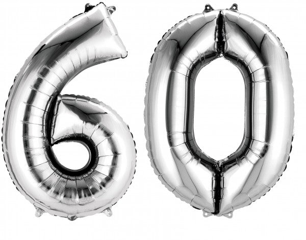 Number 60 Foil Shaped Balloons - Available in 6 colours