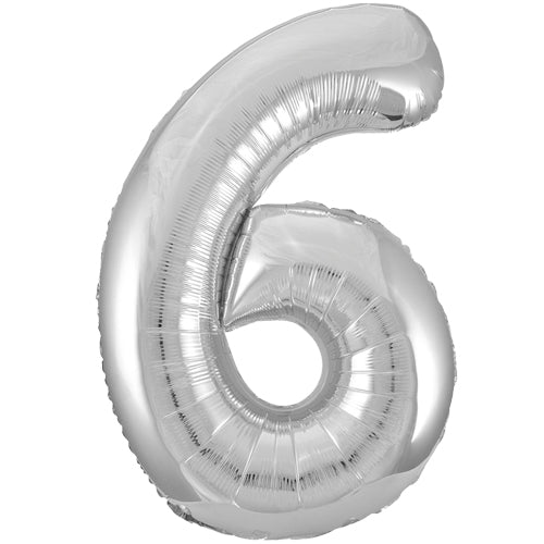 Number 6 Foil Shaped Balloon - Available in 6 colours