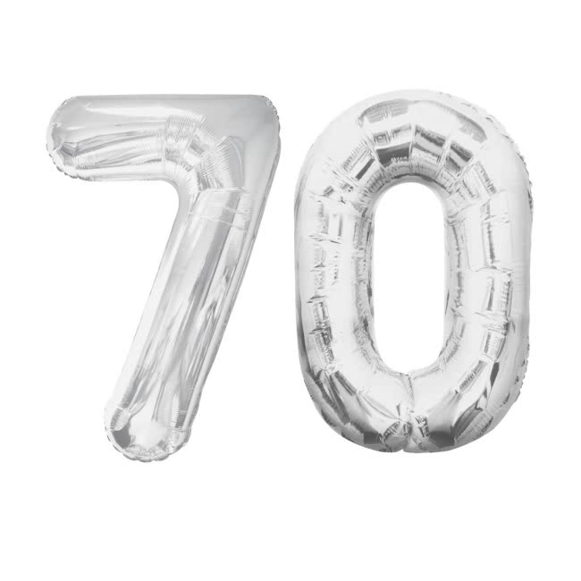 Number 70 Foil Shaped Balloons - Available in 6 colours