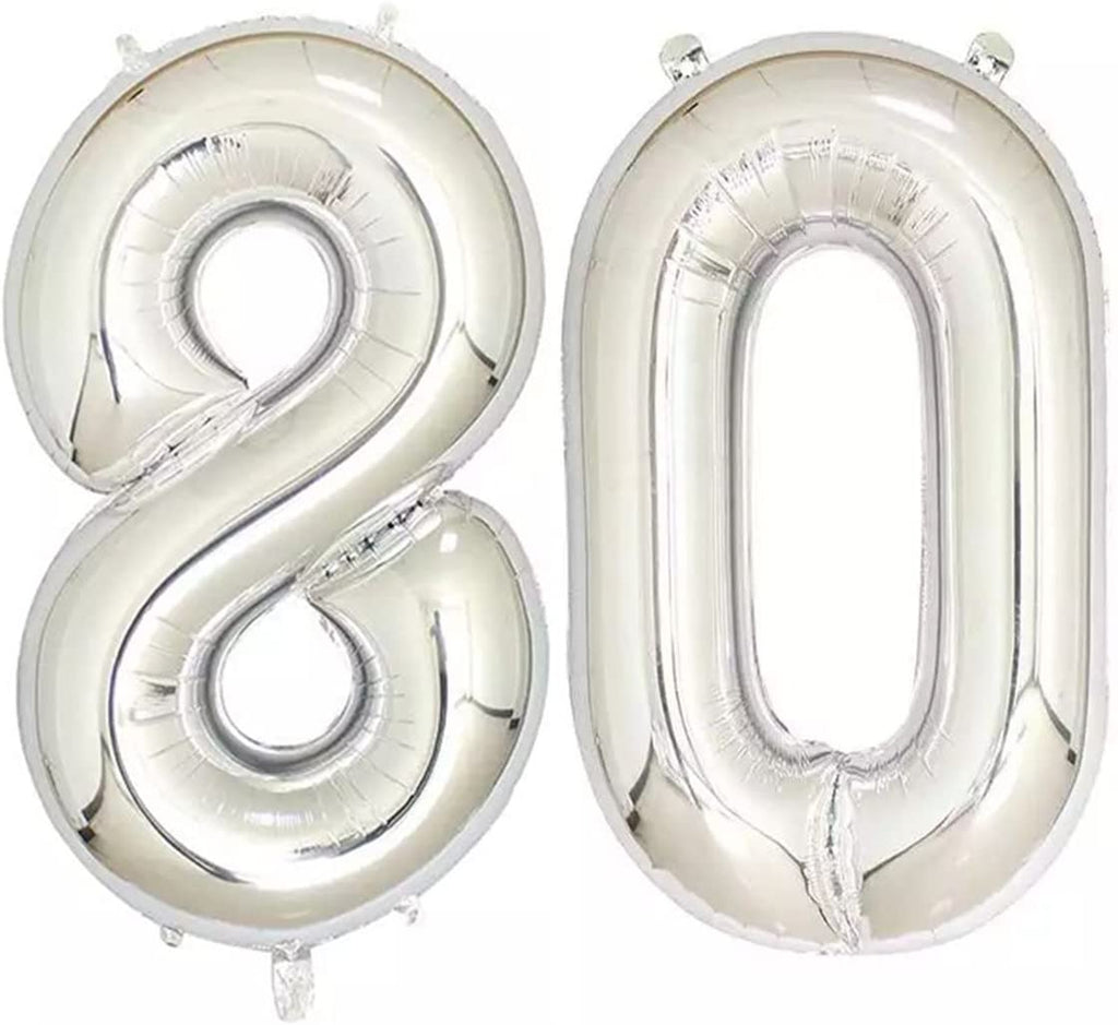 Number 80 Foil Shaped Balloons - Available in 6 colours