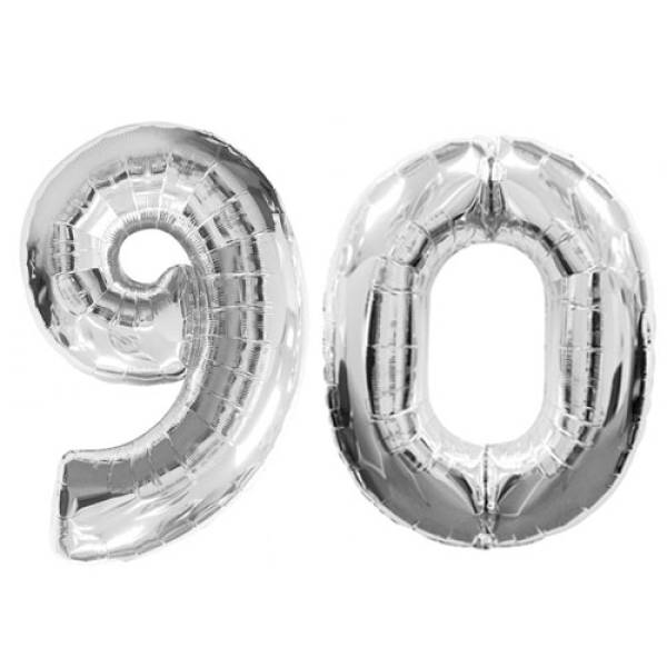 Number 90 Foil Shaped Balloons - Available in 6 colours