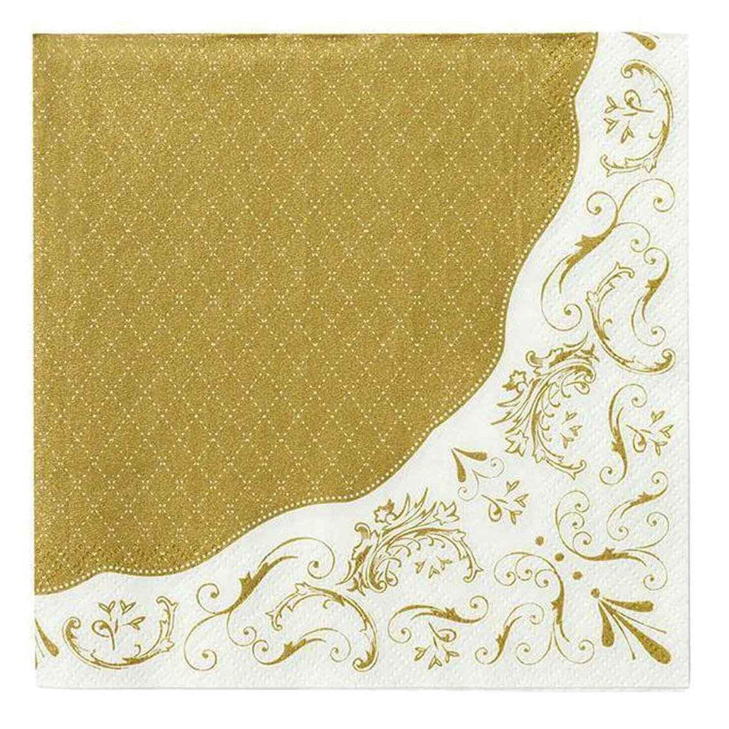 20 Gold and White Filigree Paper Napkins