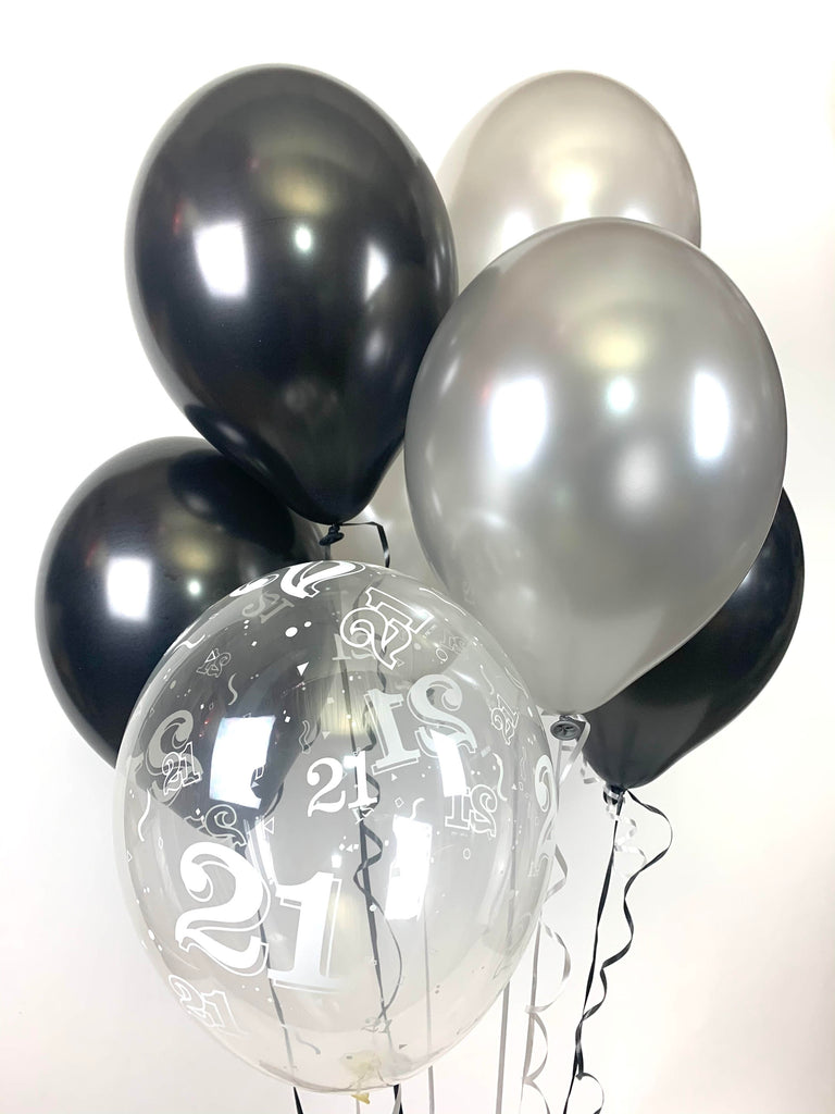 Black, Silver and 21st Aged Ranged Pearlised Latex Balloons with Curling Ribbon