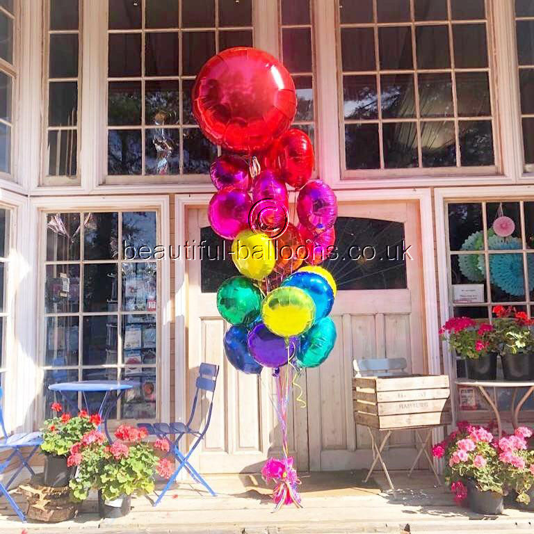 Large Rainbow Foil Balloon Cluster