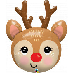 Cute Rudolph the Red Nose Reindeer Head Supershape Balloon