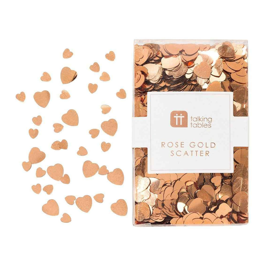 Rose gold heart table scatter sprinkle