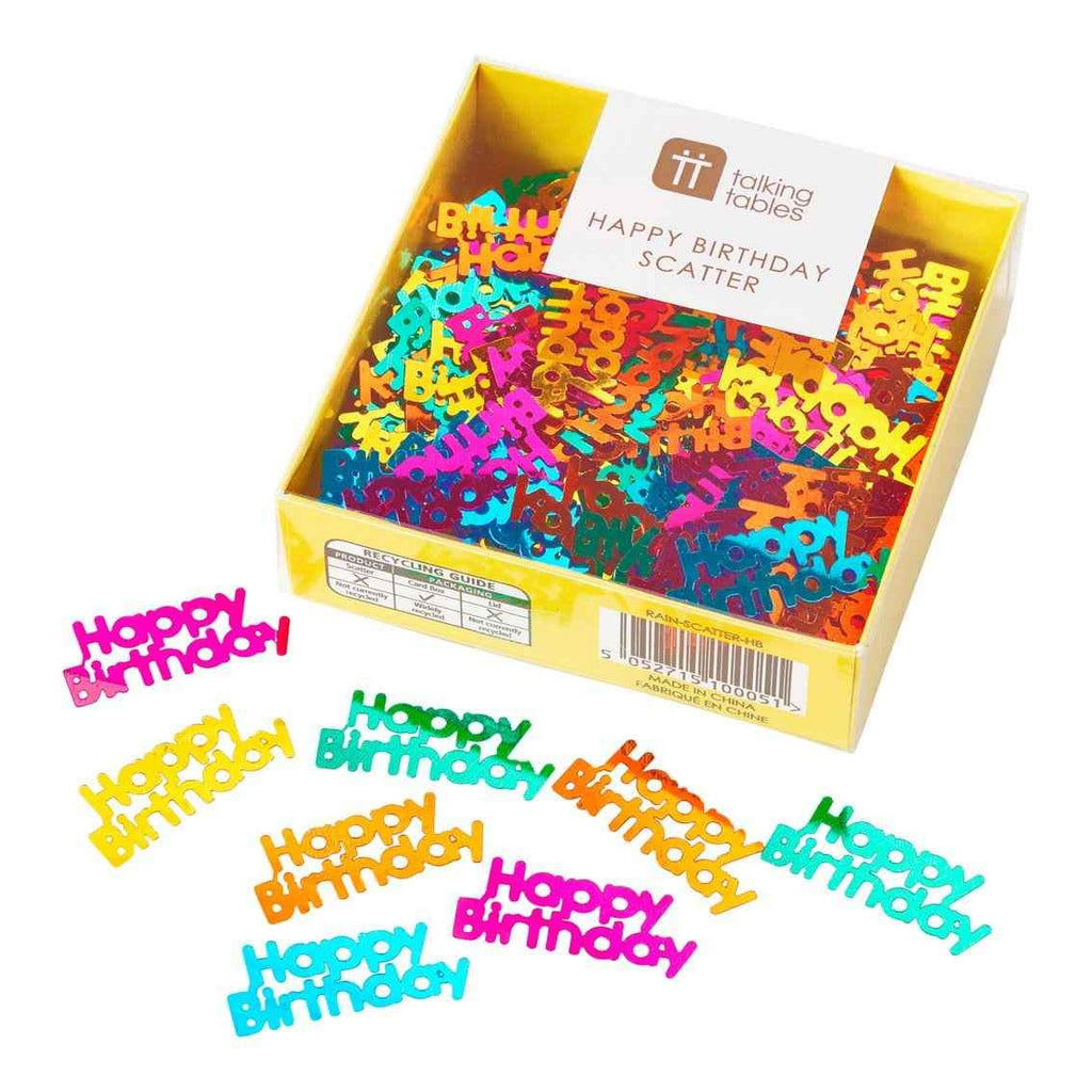 Happy Birthday Rainbow table scatter confetti