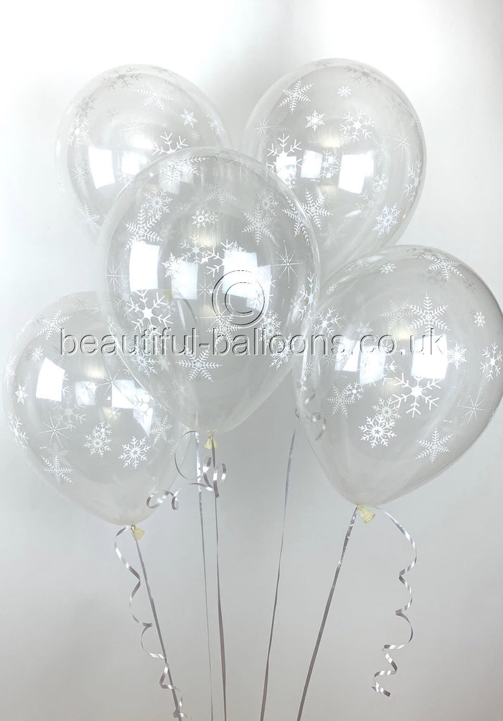 Frozen Snowflakes Pearlised Latex Balloons (Helium Balloons)
