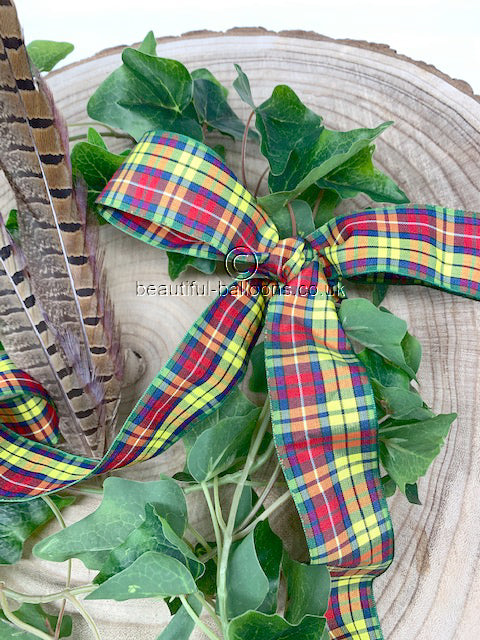 Yellow, Green and Red Tartan Ribbon